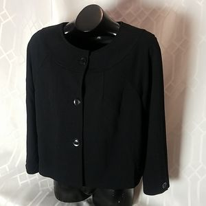 Alfani black long sleeve button up top size 14